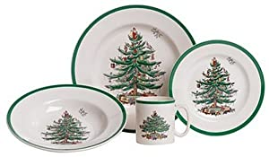 Spode Christmas Tree 20-Piece Dinnerware Set with Pasta Bowls and Bonus Serving Bowl, Service for 4