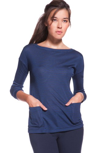 Long Sleeve Boat neck Bi-color Stripe Lightweight Jersey Tee