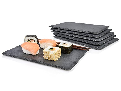 s nger schieferplatten set 39 sushi 39 6 teilig 22x16 cm stylische servierplatten aus schiefer 4. Black Bedroom Furniture Sets. Home Design Ideas