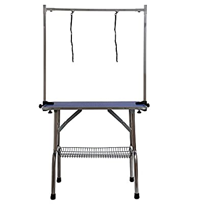 Adjustable Portable Stainless Steel Dog Grooming Table with Arm Noose and Accessories Tray Aluminum EdgingW90*D60*H76(cm) / 36*23.6*30(inch)