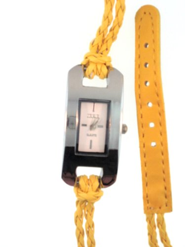 Mustard Woven Leather Wrap Watch