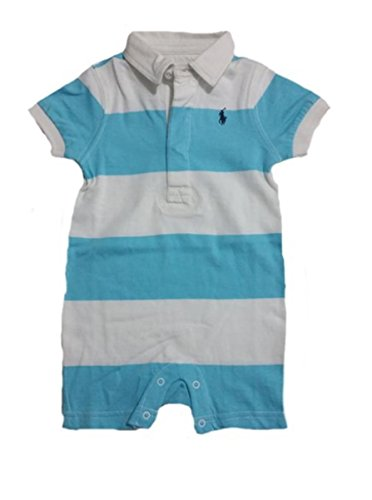 Ralph Lauren Light Blue And White Striped Romper With Dark Blue Horse - 3M front-1073231