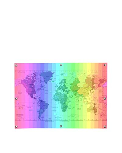 Ginger Rainbow Earth Time Zone Map Canvas Wall Mural