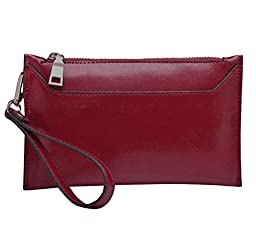 E-Clover Leather Wristlet Wallet for Ladies Fashion Clutch Purses (Wine)