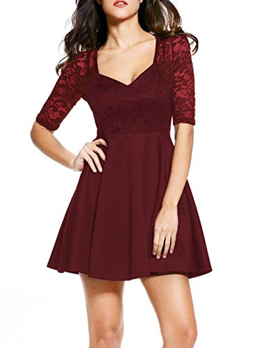 NuoReel Women's Lace Bodice Skater Dress (Large, Red)