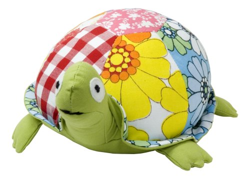 Color Zoo Taylor The Turtle Stuffed Animal - Green Patchwork