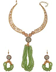 Arihant Jewellers Green Gold Plated Choker Necklace Set For Women (ML-135)