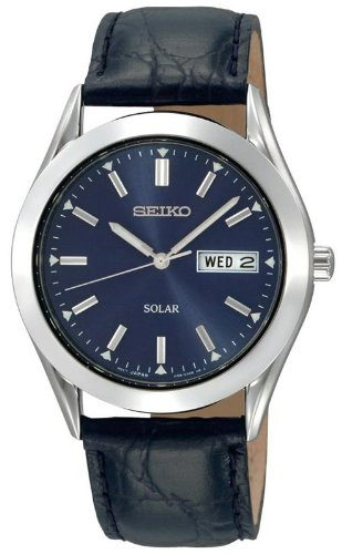 Seiko Men's SNE049 Solar Strap Blue Dial Watch