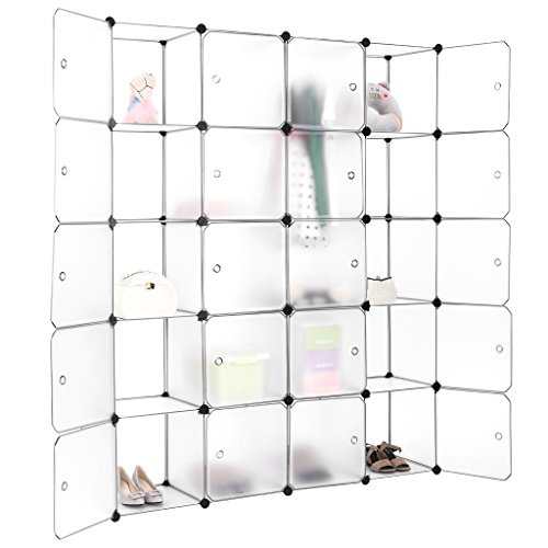 LANGRIA 20-Cube DIY Modular Shelving Storage Organizing Closet with Translucent Design for Clothes, Shoes, Toys and Books (White) (Cube Storage Display compare prices)