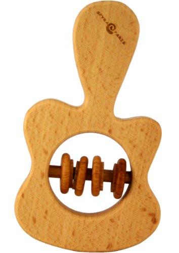 Guitare enfant bois hochet à l'huile de lin 100% biologique. Hochet bébé bio apaisant haute qualité Europe