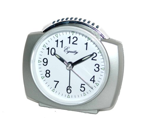 Equity by La Crosse 27006 Battery Operated Analog Alarm Clock, Silver