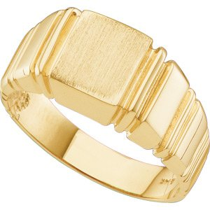 14K Yellow Gold Gents Signet Ring with brushed finish: 09.00 MM Size: 11