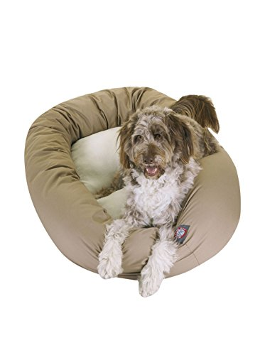 Majestic Pet 40-Inch Sherpa Bagel Bed for Pets, Khaki