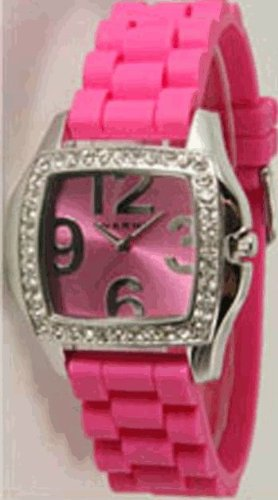 Ceramic Style Watch with Matching Strap and Face and Sparkly Clear Rhinestones (Pink)