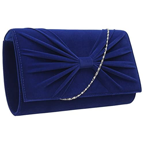Serena Velvet Oversize <strong>Flapover< strong> Bow Evening Prom Party Bridal <strong>Clutch< strong> Bag -- SWANKYSWANS