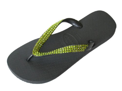 Cheap BLACK OLIVINE Swarovski Crystal Havaianas Flip Flops Sandals Thongs sizes 5-11 (B002H40IS6)