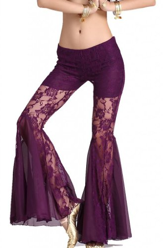 ZLTdream Women's Belly Dance Lace Fishtail Pants