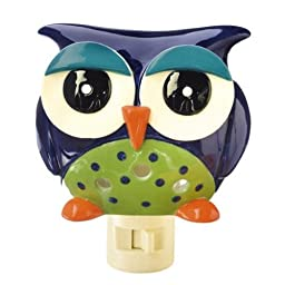 Out on a Whim Porcelain Night Owl - Blue Night Light