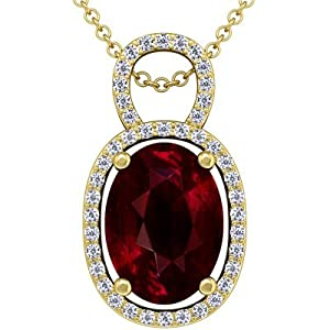 18K Yellow Gold Oval Cut Ruby And Round Diamond Pendant