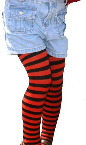 Kid's Black Striped Tights in 20 Color Combos and 4 sizes