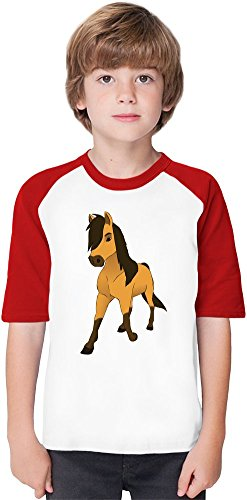 spirit the stallion of cimarron Soft Material Baseball Kids T-Shirt by True Fans Apparel - 100% Organic, Hypoallergenic Cotton- Casual & Sports Wear - Unisex for Boys and Girls 12-14 years