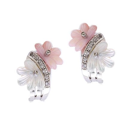 Pink White Mother-Of-Pearl Flower C.Z. Clip With Post Earrings (Nice Holiday Gift, Special Black Firday Sale)