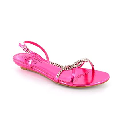 s pink low wedge heel diamante sandals