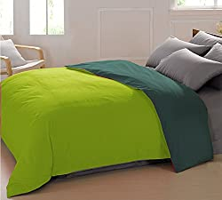 AURAVE Reversible Style Solid Plain Bottle Green & Fluorescent Green Cotton Duvet/Quilt Cover -Single Size (Gift Wrapped)