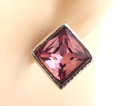 Ladies Silver with Fuchsia .5 Inch Square Stone Stud Earrings