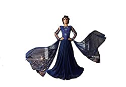 MAA Creation Blue Net Anarkali Gown