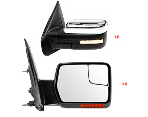 Premium! 2004-2012 Ford F-150 Power Heated w/Turn Signals & Convex Glass Door Mirror Pair (F150 Mirror Heated Turn Signal compare prices)