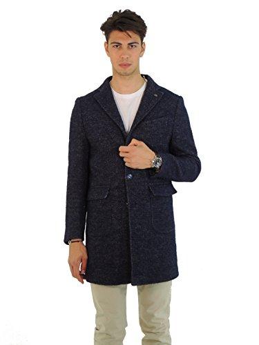 Barbati cappotto uomo monopetto collo revers pied poule TONY522 (50, BLU)