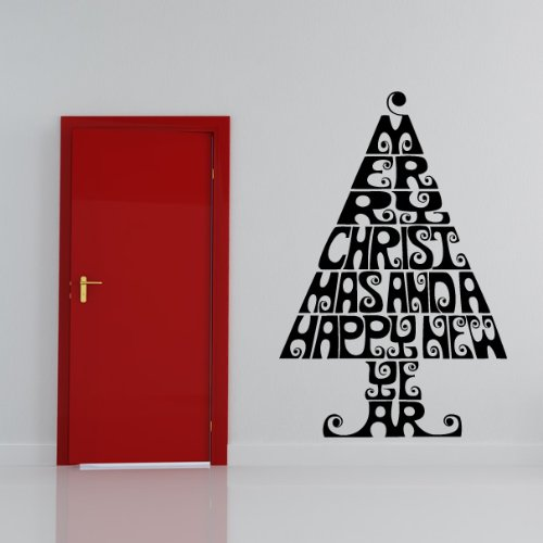 Merry Christmas Tree Decorative Wall Art Stickers Wall Decal