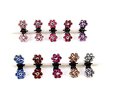 DCDEAL 10/20/30 pcs Crystal Rhinestone Mix Colored Bangs Women Girl Kids Baby Mini Flower Hair Claw Jaw Clip Hair Pin Hair Accessories