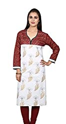 White and Maroon Printed 3/4 Sleeves Kurti