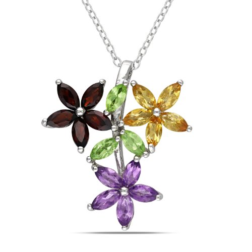 Sterling Silver, Peridot, Citrine, Amethyst and Garnet Pendant Necklace, 18