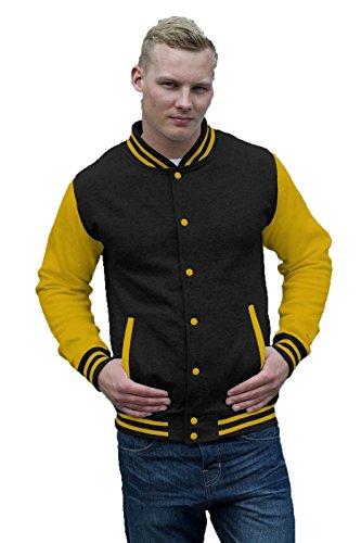 Felpa College Uomo Giacca Baseball Awdis Varsity Jacket Maniche A Contrasto, Colore: Nero Giallo, Taglia: M