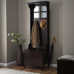 Espresso Entryway Mini Hall Tree With Mirror