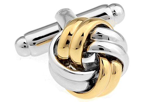 Knot 2 Tone Cufflinks with a Presentation Gift Box
