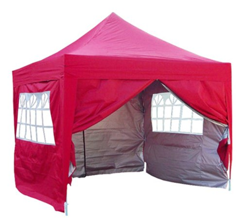 Quictent 3x3 Meter Red Pop Up Gazebo Canopy Silver-coated Waterproof With Sidewalls and Bag
