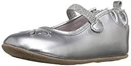 Robeez Nora Hard Sole Mini Shoe (Infant), Silver, 6-9 Months M US