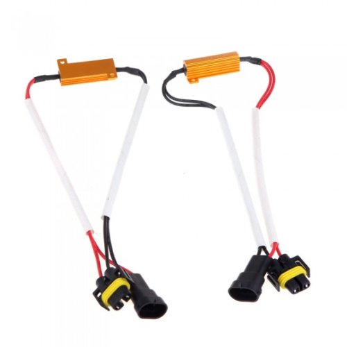 Andoer 2Pcs H8 H9 H11 Led Light Fog Xenon Hid Drl Lamp Decoder Resistance Load Resistor Canbus Wire Harness Adapter 50W 6Ohm 9-14V