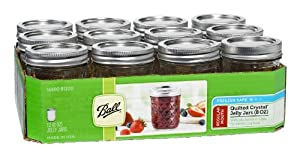Ball Jar Crystal Jelly Jars with Lids and Bands, 8-Ounce, Quilted, Set of 12