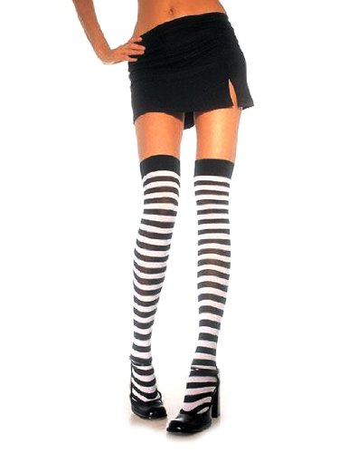 Black Thigh High Stockings Stripped Tights Gothic Style Sizes: One Size