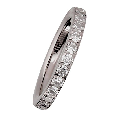 2Mm Solid Titanium Eternity Ring With Round Brilliant Cubic Zirconias Size 7