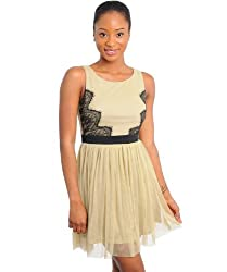 G2 Chic Women's Belted Lace Detail Chiffon Skirt Party Dress(DRS-EVP,BRN-L)