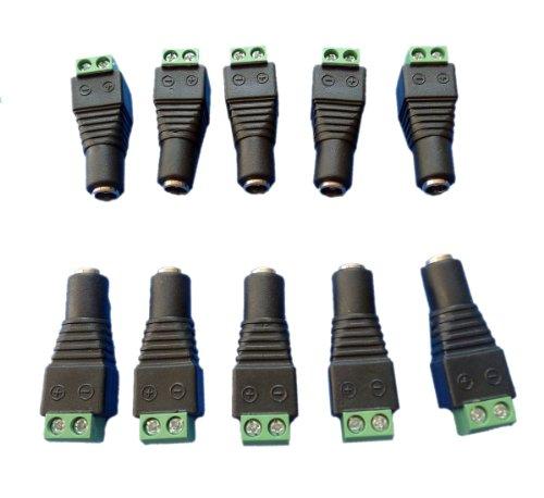 10Pcs Led Strip Connectors,Dc Power Female Plug Jack Adapter Connector 5.5X2.1Mm Dc Power Female