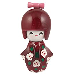 Floral Burgundy Kimono Smiling Girl Wooden Kokeshi Doll Desk Decoration