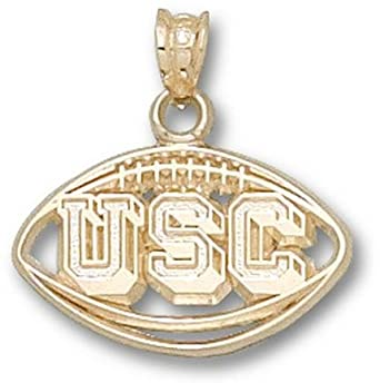 South Carolina Gamecocks Pierced USC Football Pendant - 14KT Gold Jewelry by Logo Art