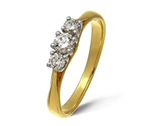 Ariel 18ct Yellow Gold Trilogy Ring By Ariel, H/SI1 Certified Diamonds, Round Brilliant, 0.33ct